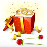 Engagement Ring on Gift Box Royalty Free Stock Images