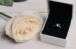 Engagement Ring In gift Box and flowers. Love, Wedding, Marriage concept. Royalty Free Stock Image
