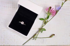 Engagement Ring In gift Box and flowers. Love, Wedding, Marriage concept. Rustic chic style Royalty Free Stock Image