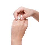 Engagement Ring in hand. Royalty Free Stock Photography