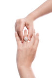 Engagement Ring in hand Royalty Free Stock Images