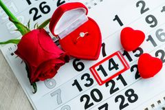 Engagement ring, heart, calendar, February 14, a gift for Valent. Ine`s Day stock image