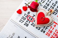 Engagement ring, heart, calendar, February 14, a gift for Valent. Ine`s Day royalty free stock photos