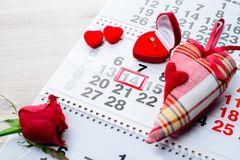 Engagement ring, heart, calendar, February 14, a gift for Valent. Ine`s Day stock images