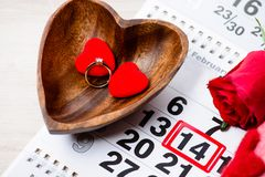 Engagement ring, heart, calendar, February 14, a gift for Valent. Ine`s Day stock photography