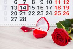 Engagement ring, heart, calendar, February 14, a gift for Valent. Ine`s Day royalty free stock photography