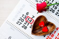 Engagement ring, heart, calendar, February 14, a gift for Valent. Ine`s Day royalty free stock images