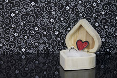 Engagement Ring in a heart Shaped wooden box Royalty Free Stock Photos