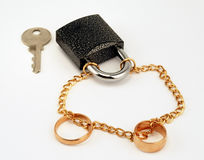 Engagement ring and lock royalty free stock image