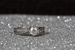 Engagement Ring On Silver Royalty Free Stock Image