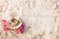 Engagement ring in open seashell on the ocean beach. Copy space. Frame. Royalty Free Stock Photo