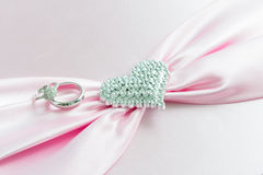 Engagement ring , Pink ribbon and dimon Heart Stock Image