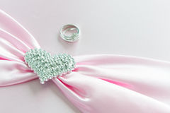 Engagement ring , Pink ribbon and dimon Heart Royalty Free Stock Photography