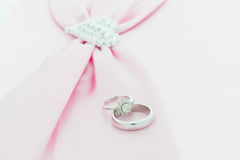 Engagement ring , Pink ribbon and dimon Heart Stock Images