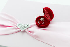 Engagement ring , Pink ribbon and dimon Heart Royalty Free Stock Images