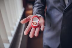 Engagement ring or present in the hands Royalty Free Stock Photos