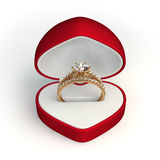 Engagement ring. In the red gift box stock photography