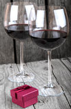 Engagement ring romantic dinner glass of wine Stock Photo