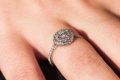 Engagement ring under natural light Stock Images