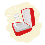 Engagement ring vector. Illustration of diamond ring in a red jewelry box + vector EPS file Stock Photos