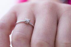 Engagement ring. Ring white gold and diamond Royalty Free Stock Photos