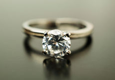 Engagement ring in white gold with diamonds Royalty Free Stock Images