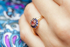Engagement ring. On woman's hand Royalty Free Stock Photography