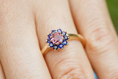 Engagement ring. On woman's hand Stock Photos