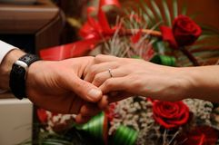Engagement ring on womans Stock Photo