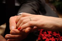 Engagement ring on womans Royalty Free Stock Photo