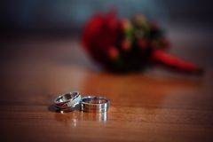 Engagement rings made. Of white gold Royalty Free Stock Images