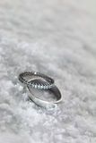 Engagement rings in the snow Royalty Free Stock Images