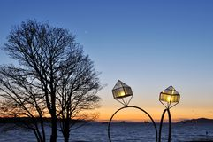Engagement rings street lamps Royalty Free Stock Image