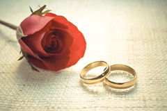 Engagement rings. Two wedding rings on cloth texture with a red rose Stock Photo