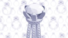 Engagement rings on white background with blur. 3D rendering in fashion style stock video footage