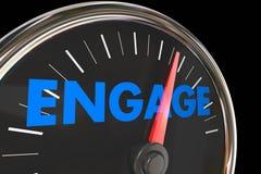 Engagement Speedometer Increase Improve Interaction stock illustration