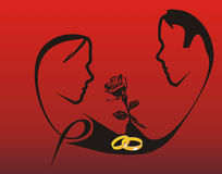Engagement on Valentine's Day. Couple and black rose silhouette with golden engagement ring Stock Images
