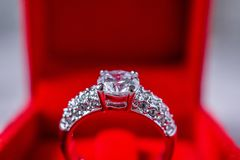 Engagement wedding diamond ring in red gift box royalty free stock photo