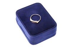Engagement wedding ring in on velvet box Stock Image