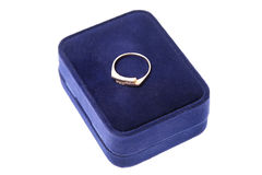 Engagement wedding ring in on velvet box. Proposal Stock Image