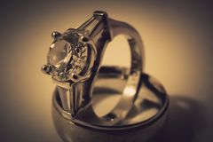 Engagement and wedding rings closeup royalty free stock images