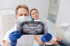 Engagierter gelehrter Zahnarzt, der geduldigen Kieferscan studiert Stockbild