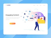 Engaging content concept. Man carries a large folder with media files. Communication with subscribers vector. A man carries a large folder with media files Royalty Free Stock Photography