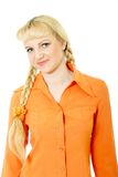 Engaging girl in orange clothes Royalty Free Stock Photos