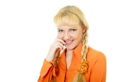 Engaging girl in orange clothes Royalty Free Stock Photo