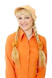 Engaging girl in orange clothes Stock Photos