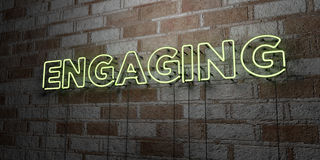 ENGAGING - Glowing Neon Sign on stonework wall - 3D rendered royalty free stock illustration Stock Images