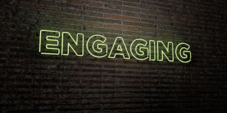 ENGAGING -Realistic Neon Sign on Brick Wall background - 3D rendered royalty free stock image Stock Image