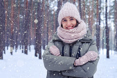 Engaging smile of beautiful woman during the outdoors walk under Stock Images