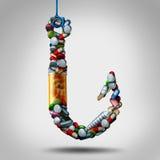 Enganchado na medicina ilustração stock